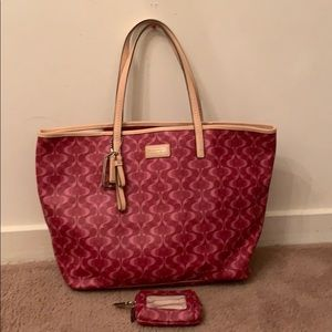 Coach tote with matching coin purse